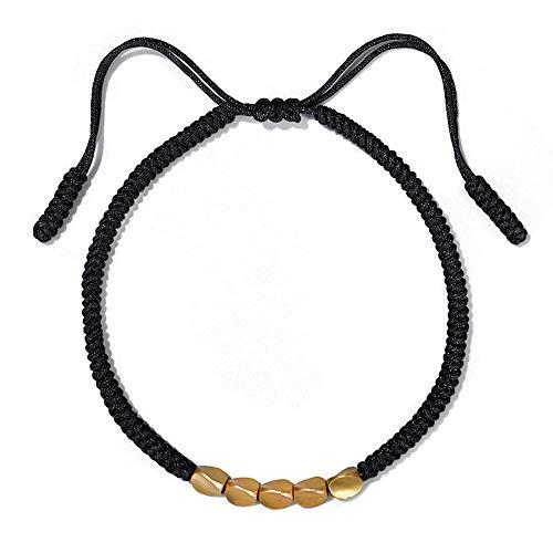 CVAYU Pulsera de cuerda de la suerte hecha a mano con cinco abalorio de cobre tibetano, pulsera unisex de metal, se aplica a las muñecas de mujeres y hombres Negro