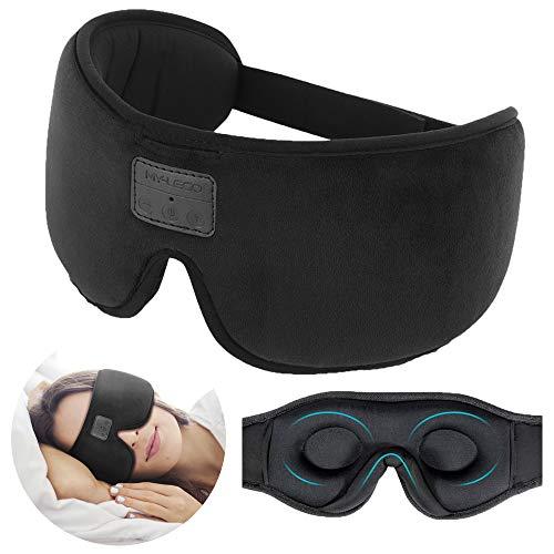 Schlafkopfhörer Augenmaske, Bluetooth 3D Schlafmaske 2 in 1, 100% blockiert Licht, mit ultradünnen Stereolautsprechern, für Schlafen, Reisen, Meditation und Schlafstörung