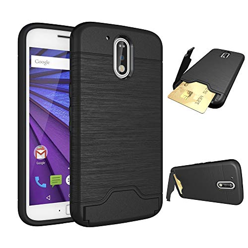 Phone Case for Motorola MotoG4 / Moto G4 Plus Slim Hard Wallet Cover Rubber with Credit Card Holder Stand Kickstand Cell Accessories G 4th Gen Generation G 4 4plus G4plus 4G G4+ Cases Girls Men Black