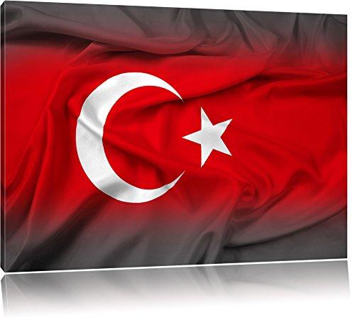 Flagge der Türkei schwarz/weiß Format: 120x80 auf Leinwand, XXL riesige Bilder fertig gerahmt mit Keilrahmen, Kunstdruck auf Wandbild mit Rahmen, günstiger als Gemälde oder Ölbild, kein Poster oder Plakat