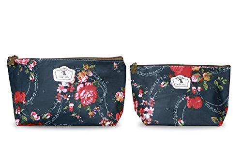 Lot de 2 Pochettes (Tailles différentes) Fleuries Tissu Plastifié Solide Durable et imperméable (Noir)