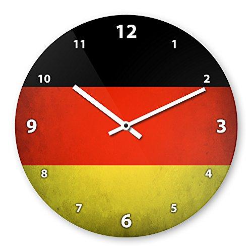 Wanduhr mit Motiv - Deutschland Flagge | Echt-Glas | R& | Küchenuhr | Modern
