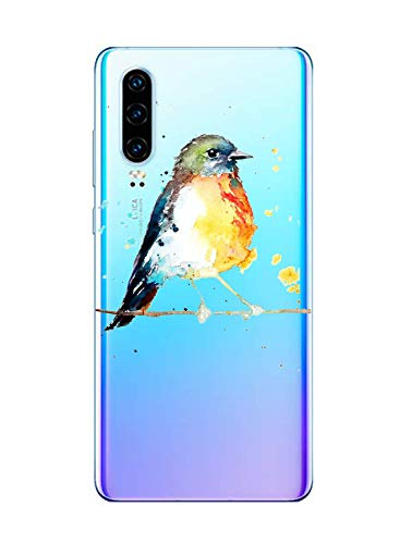 Oihxse Cristal Clear Coque pour Huawei P Smart Plus 2019 Silicone TPU Souple Protection Etui [Jolie Aquarelle Animal Design] Anti-Choc Anti-Scratch Bumper Housse Ultra Fin Case (B1)