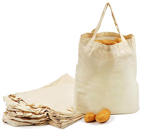 com-four® 12x Baumwolltasche - Wiederverwendbare Einkaufstasche - unbedruckt, ideal zum Bemalen - Oeko-TEX® Standard 100 (12 Stück - 38x42cm - kurzer Henkel)