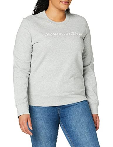 Calvin Klein Institutional Core Logo CN Felpa, Grigio (Light Grey Heather 038), X-Small Donna