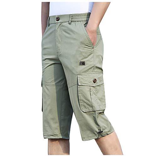 Lenfeshing Pantalones Casuales Deportivos de Color Puro Shorts Cargo Bermuda