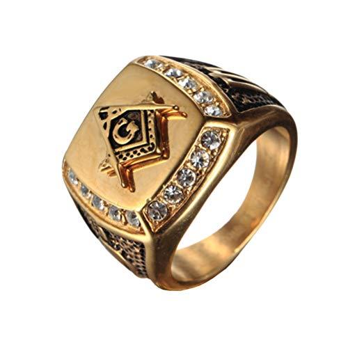 OAKKY Herren Edelstahl Masonic Freimaurer Ring mit Diamanten Biker Symbol Mitglied Band, Gold Schwarz Größe 68 (21.6)