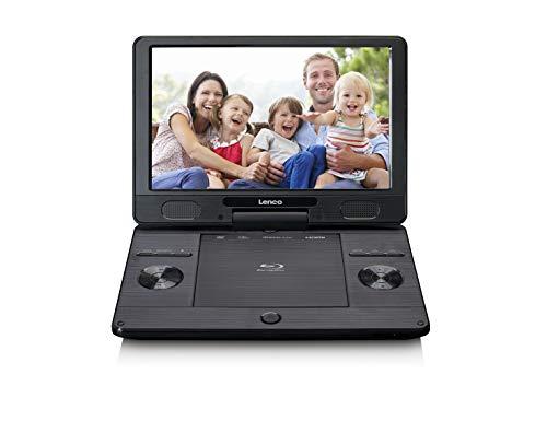 """Lenco BRP-1150 tragbarer Blu-Ray DVD-Player - 11,5"""" drehbarer TFT Bildschirm mit 1024 x 600 Pixel - integrierter Akku - mit Netz- und KfZ-Adapter - USB Eingang - AV-Out - HDMI - Schwarz"""