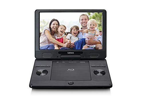 """Lenco BRP-1150 tragbarer Blu-Ray DVD-Player - 11,5"""" drehbarer TFT Bildschirm mit 1024 x 600 Pixel - integrierter Akku - mit Netz- und KfZ-Adapter - USB Eingang - AV-Out - HDMI - Schwarz, BRP=1150BK"""