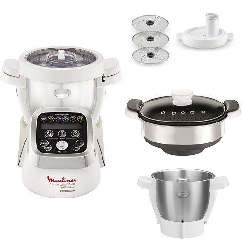 Moulinex Cuisine Companion - Robot de cocina + XF383110 Accesorio cortador + XF384B10 Accesorio vapor + Accesorio vaso inox y eje cuchilla