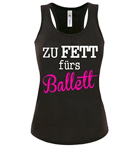 Luckja Zu Fett fürs Ballett Damen Tanktop Schwarz-Weiss/Neonpink Grösse M