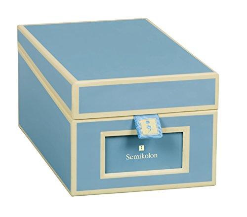 Semikolon (352644) Visitenkarten-Box mit Registern in ciel (hell-blau) - Bussiness-Card-Box - Alternative zu Visitenkartenmappe, Karteikasten