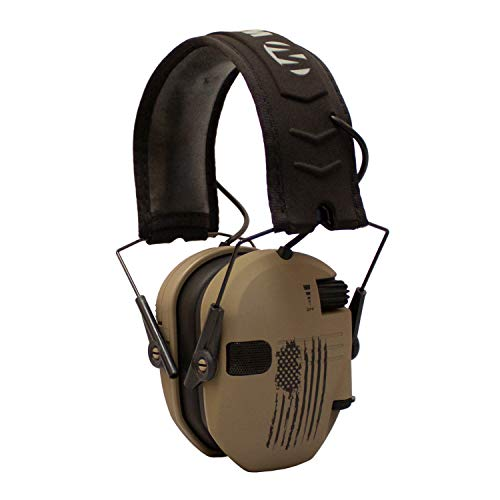 Walker's Razor Slim Electronic Shooting Hearing Protection Muff (American Flag Distressed, Tan)