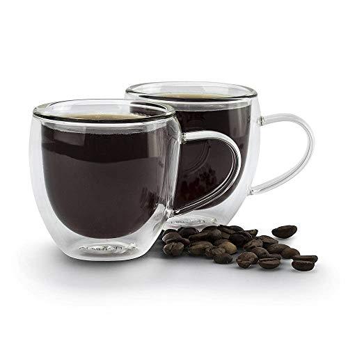 Ambition 96857 szklanki termiczne z podwójnymi ściankami Mia 2 szt. 100 ml zestaw filiżanek do kawy ze szkła z uchem idealny pomysł na prezent, 100 mililitrów