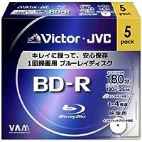 ビクター 4倍速対応BD-R 5枚パック 25GB ホワイトプリンタブルVictor BV-R130CW5