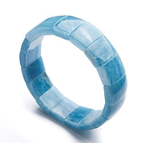 LiZiFang - Pulsera elástica con Cuentas rectangulares de Cristal de Aguamarina Natural