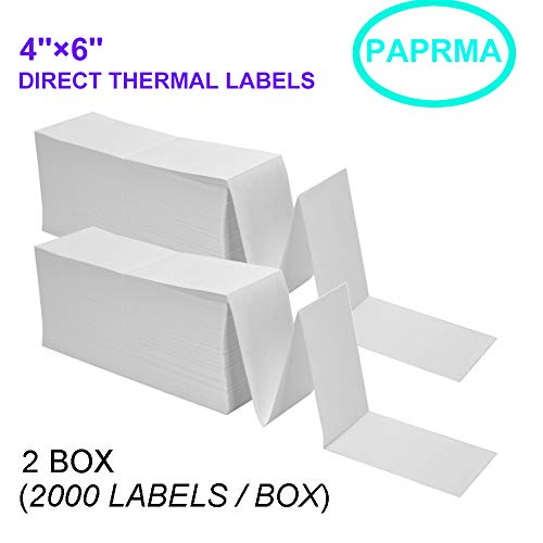 """PAPRMA Fanfold 4"""" x 6"""" Direct Thermal Labels,for Thermal Printers, 2 Stacks,4000 Labels Total(2000 Labels per Stack)-Zebra Compatible"""