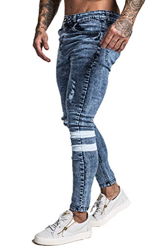 GINGTTO Skinny Jeans for Men Ripped Blue Stretch Mens Distressed Jeans Slim Fit Size 34