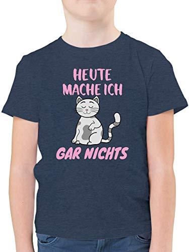 Statement Sprüche Kinder - Heute Mache ich gar Nichts Katze - 128 (7/8 Jahre) - Dunkelblau Meliert - Kinder Shirts mit Katzen - F130K - Kinder Tshirts und T-Shirt für Jungen