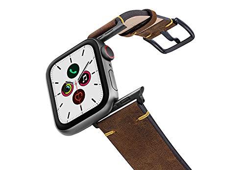 MERIDIO - Pulsera compatible con Apple Watch IOS Vintage de piel de ternera 100% fabricada en Italia con acabado de algodón, 44, aluminio, gris espacial