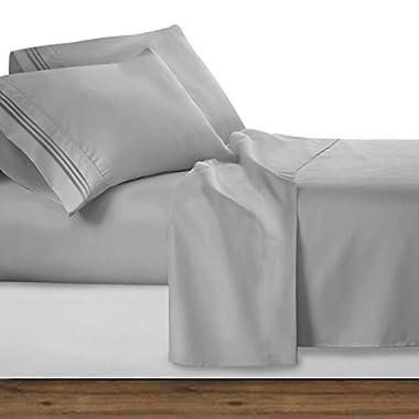 Clara Clark Premier 1800 Collection Deluxe Microfiber 3-Line Bed Sheet Set, Silver Gray, Queen Size