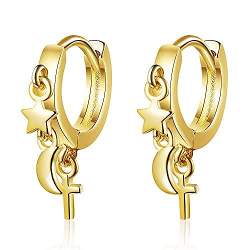 JUANUFDS Pendientes Mujer,Pendientes De Plata De Ley 925 con Estrellas Lunares para Mujer, Pendientes De Joyería De Moda, Día De San Valentín para Damas, Oro