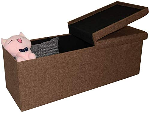 Style home Sitzbank Sitzhocker Faltbare Sitztruhe 120L, belastbar bis 300 kg, 110 x 38 x 38 cm, Leinen (Braun)