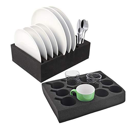 wamovo Wohnwagen Wohnmobil Tellerhalter Geschirrhalter Tassenhalter Set