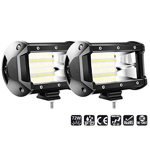 Hengda 2 Stück LED Arbeitsscheinwerfer 72W Zusatzscheinwerfer 9200LM Auto Scheinwerfer Offroad Flutlicht Spotlight 6500K Wasserdicht IP67 Arbeitslicht 12V