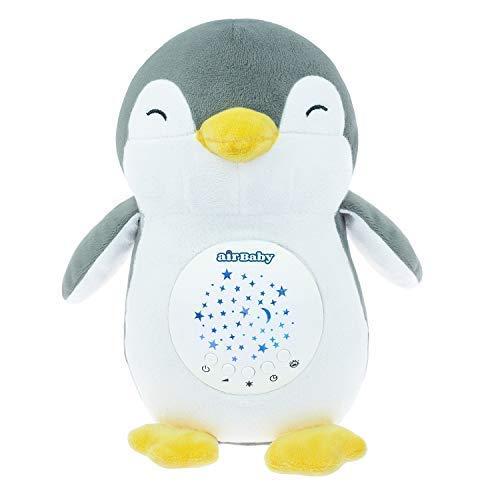 Pepe The Penguin AirBaby White Noise Aid Sleep Night Light & Shusher Máquina de sonido, Baby Cry Censor y recargable portátil chupete de pingüino con Lullabies Baby Shower