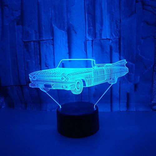 LWJZQT 3d nachtlampje geschenken 3D auto nachtlicht sport auto usb 3D visuele kleine 3D verlichting remote touch schakelaar mooie 7 kleuren verandering 3D lamp