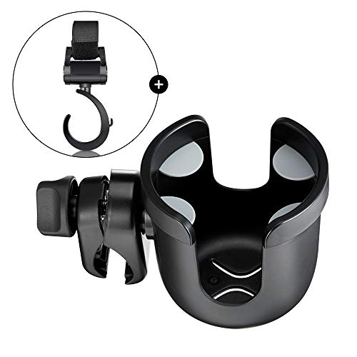 Wheelchair Cup Holder, 4 Flexible Tabs Rollator Drink Holder, Sturdy Water Bottle Holder with Hook Universal for Walker, Trolleys, Stroller Ideal Gift for Father's Day