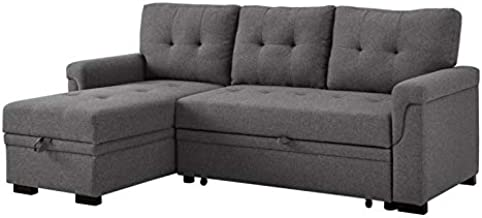 BOWERY HILL Steel Gray Linen Reversible/Sectional Sleeper Sofa with Storage for Small Space