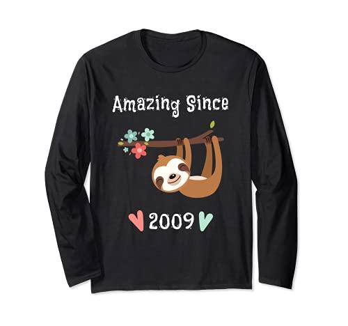 Incredibile dal 2009 - Carino Donne Ragazze Ragazze Sloth Compleanno Maglia a Manica