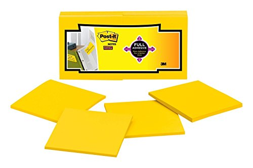Post-it Super Sticky Full Adhesive Notes, 2x Sticking Power, 3 x  3-Inches, Electric Yellow, 12-Pads/Pack