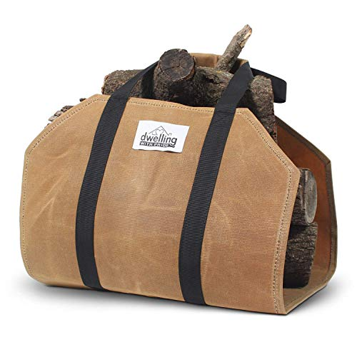 LargeCapacity Firewood Carrier with Strong Handles Sturdy Waxed Canvas Log Carrier  WaterResistant Firewood Holder Indoor  Thick Canvas Log Carrier Fire Wood Bag