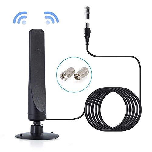 Teepao Mini antena de TV para interiores, cable de 9,8 pies HD digital HDTV Freeview TV antena amplificada de 50 millas amplificador de señal amplificador de señal para 4K 1080P DVB-T2