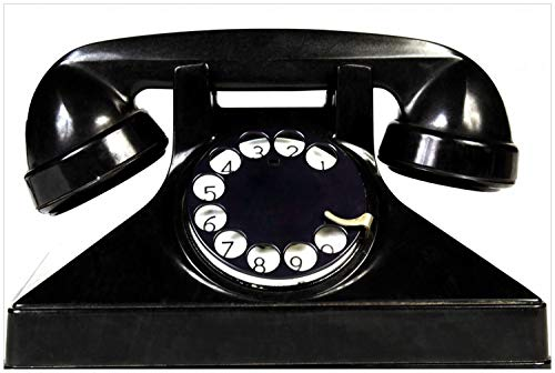 Wallario Glasbild Altes schwarzes Retro-Telefon mit Wählscheibe frontal - 60 x 90 cm in Premium-Qualität: Brillante Farben, freischwebende Optik