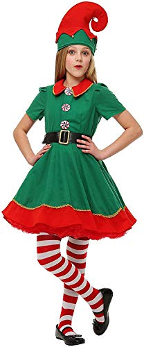 Child Holiday Elf Costume Dress and Hat Elf Costume for Girls (Large (12-14))