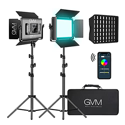 GVM RGB LED Video Light with Stand and Softbox Kit, 680RS 50W led panel Light with APP Control, 2 Packs Photography Lighting for YouTube Studio, Video Shooting, Gaming, Streaming, Conference