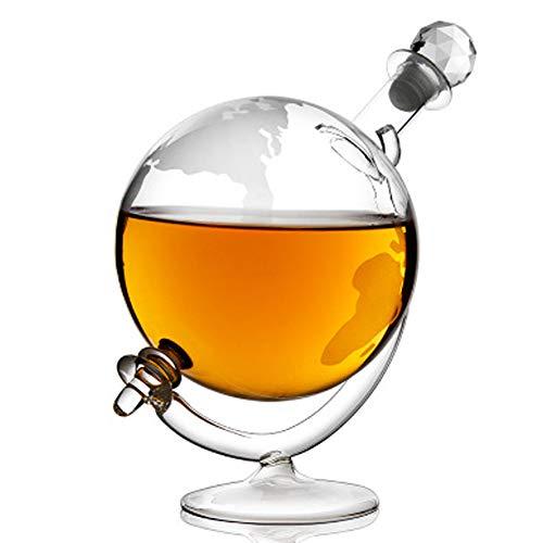 Welt Karte Globus Karaffe 1000ML, Whiskey Wodka Karaffe Transparent Weinflasche Karaffe, Kreativität Wein Container, Einschließen Base, Geeignet Geschenk