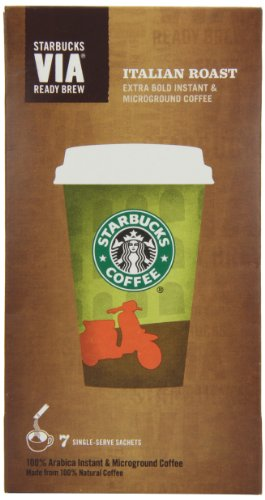 Starbucks VIA Italian Roast Coffee 7 Sachets (Pack of 8, Total 56 Sachets)