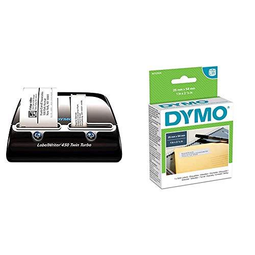 Dymo LabelWriter 450 Twin Turbo Etikettendrucker & LW-Mehrzwecketiketten/-Rücksendeetikette selbstklebend (19mm x 51mm, Rolle mit 500leicht ablösbaren Etiketten, für LabelWriter-Beschriftungsgeräte)