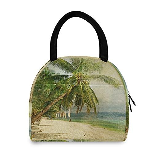 HaJie - Bolsa de almuerzo retro para playa, palmeras, nevera, bolsa térmica portátil con cremallera, para niños, mujeres, hombres, trabajo, escuela, oficina