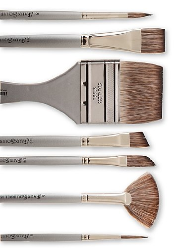 Dynasty Faux Squirrel Watercolor Brush - Soft Silver Handle - Rigger Series 1827RIG, Size 2 (one brush)