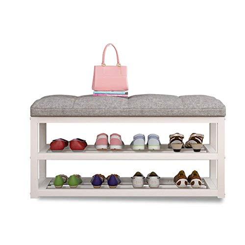 BXU-BG Zapatero de metal con cojín de tela, organizador de zapatos para pasillo de almacenamiento de zapatos (color: blanco, tamaño: 60 x 30 x 50 cm)