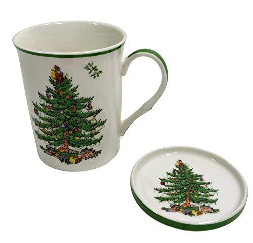 Official Licensed Spode Christmas Tree Mistletoe Fine Porcelain China Mug Cup And Coaster Set