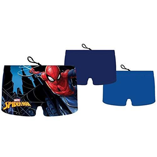 Boxer de Bain Shorty Maillot de Bain garçon Spiderman Marvel avec Lacet d'attache (8 Ans, Bleu Clair)