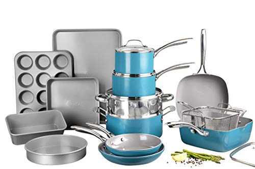 Gotham Steel Ocean Blue Pots and Pans, Complete Ceramic Cookware & Bakeware, Ultra Nonstick Durable Diamond Coating, Stainless Stay Cool Handles Oven & Dishwasher Safe, 100% PFOA Free, 20 Piece Set