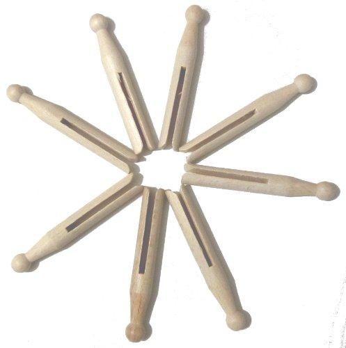 Hagspiel Rundkopfklammern, Wäscheklammern aus Holz, Buchenholz, 50 Stk., 110 mm